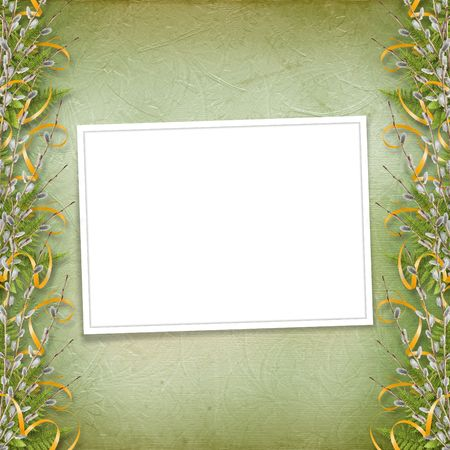 willow: Card for invitation or congratulation with bunch of willow  Stock Photo
