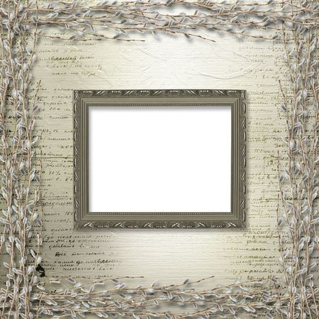 pussy willow: Victorian frames with bunch of willows on the abstract background Stock Photo