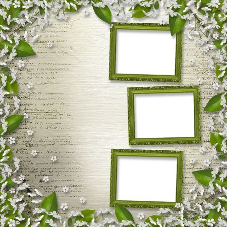 Writing abstract background  with frame floral beautiful bouquet photo
