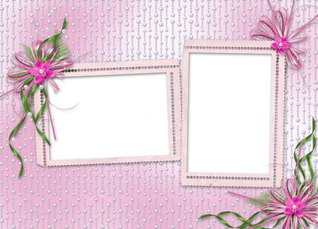 Card for invitation or congratulation with orchids and bow photo