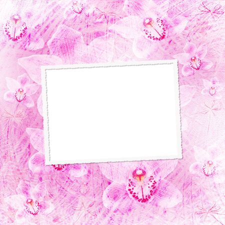 Card for invitation or congratulation with orchids and bow Stock Photo - 6656722