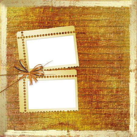 scrapbook cover: Antiguo libro de grunge para fotos con arco y cintas