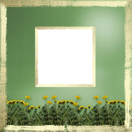 Green abstract background with gold frame and flowers of dandelion photo