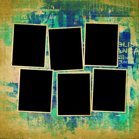 Old grunge frames on the abstract background photo