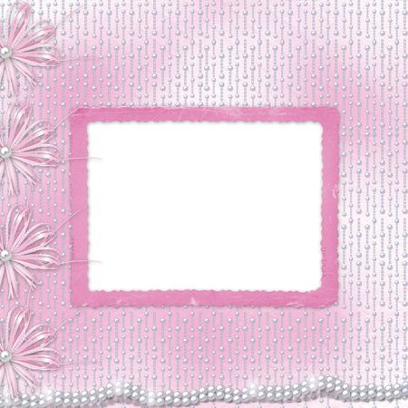 Card for invitation or congratulation with bow and ribbons photo