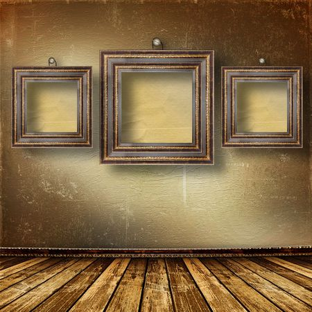 Old room, grunge  interior with frames in style baroque Stock Photo - 6694367