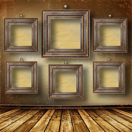 Old room, grunge  interior with frames in style baroque Stock Photo - 6694364