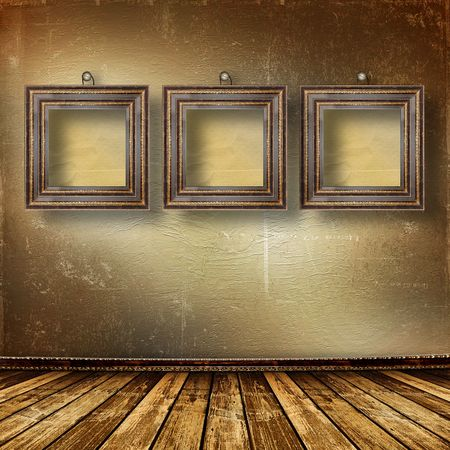 Old room, grunge  inter with frames in style baroque Stock Photo - 6694417