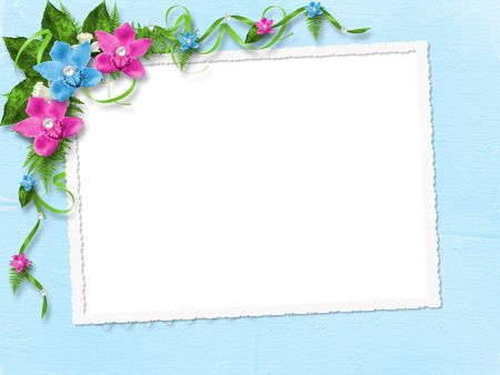 pink orchid: Frame for photo with blue and pink orchids
