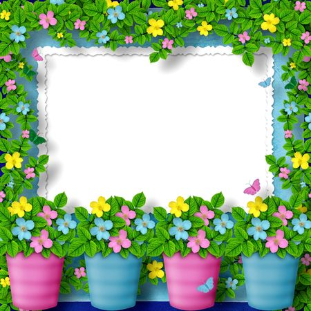 garden frame: frame for greeting or congratulation with garland of flower