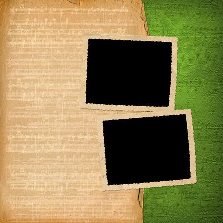 grunge frames from old papers on the abstract musical background Stock Photo - 6740668