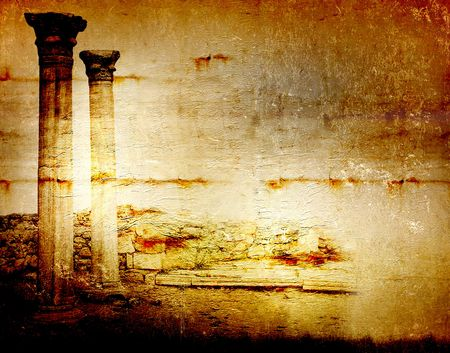 Abstract scratch ancient background in scrapbooking style with ruins photo