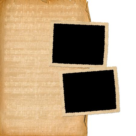 grunge frames from old papers on the abstract musical background Stock Photo - 6740682