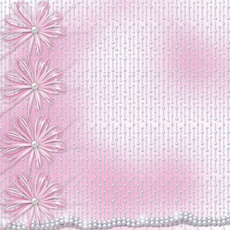pearls: Card for invitation or congratulation with bow and ribbons