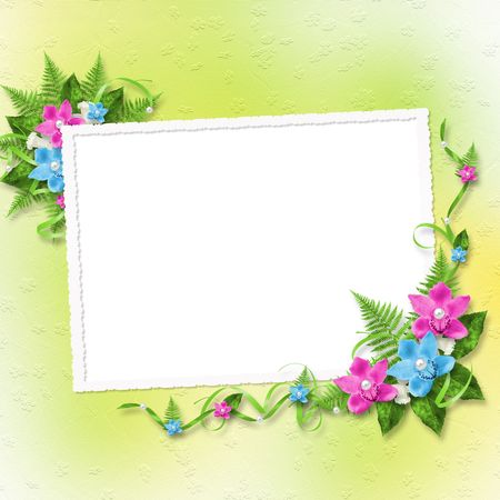 Card for invitation or congratulation with blue and pink orchids Stock Photo - 6740707