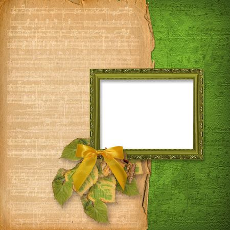 grunge woodwn frame on the abstract musical background Stock Photo - 6740715