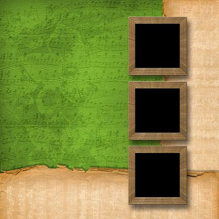 grunge wooden frames on the abstract musical background photo