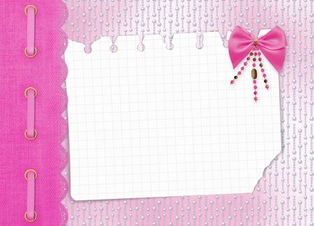 Card for invitation or congratulation with bow and beads photo