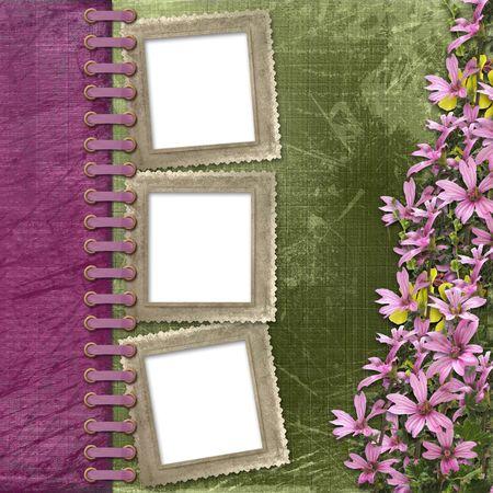 vinous: Vinous antique cover for album with bouquet Stock Photo