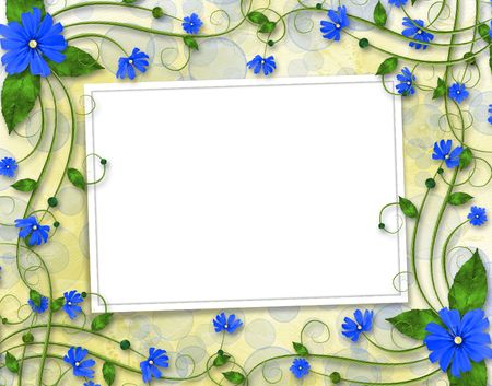 Congratulations to the holiday with frame and blue flowers Stock Photo - 6775669