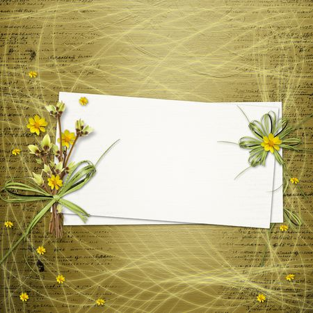 april flowers: Card for invitation or congratulation with bunch of flowers and twigs