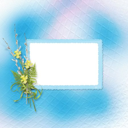 Card for invitation or congratulation with bunch of willow and narcissus photo