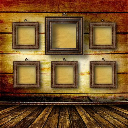 Old room, grunge  interior with frames in style baroque Stock Photo - 6775697