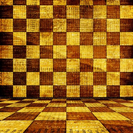 Old room, grunge  interior with  chess wall