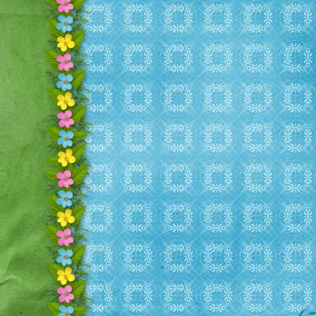 spring coat: paper for greeting or congratulation with garland of flower