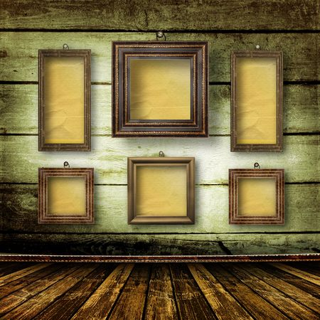 Old room, grunge  inter with frames in style baroque Stock Photo - 6775877