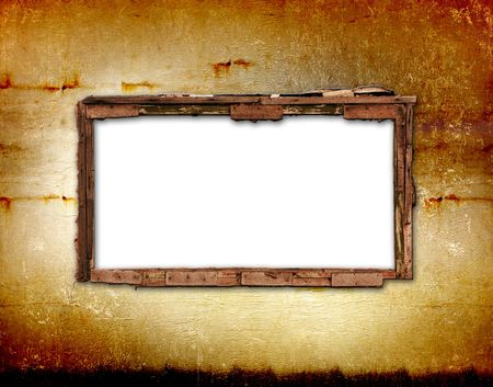 Old window on the antique wall with metal nail photo