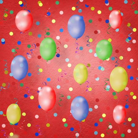 bright multicolored background  with balloons, streamers and confetti photo