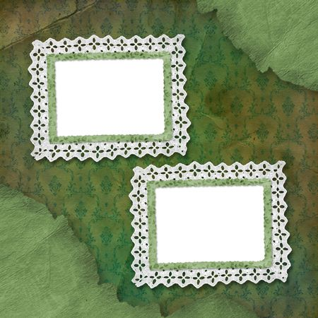 abloom: Old grunge frames with lace on the abstract background Stock Photo