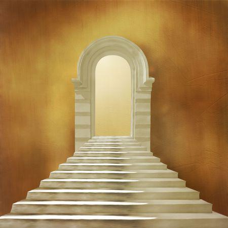 arcos de piedra: El antiguo edificio con escalera y entrada de piedra