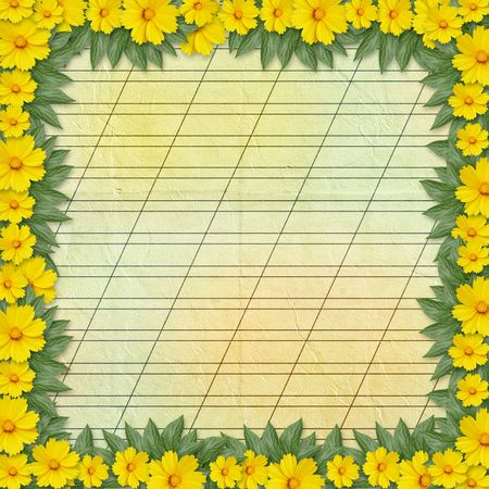 Congratulation to the holiday with frame and yellow flowers photo