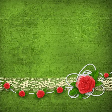 buttonhole: Card for invitation or congratulation with buttonhole and lace