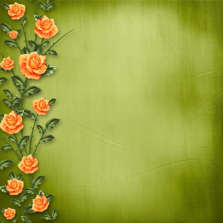 the album announcement: grunge paper for congratulation with painting rose