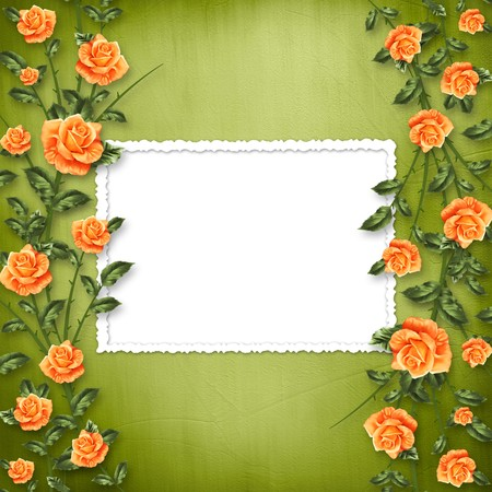 orange roses: grunge paper for congratulation with painting rose