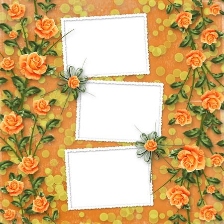 grunge paper for congratulation with painting rose Stock Photo - 6852885