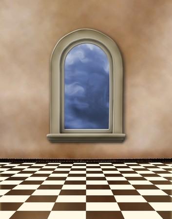grunge interior: Vieja sala, interior de grunge con ventanas en estilo barroco  Foto de archivo