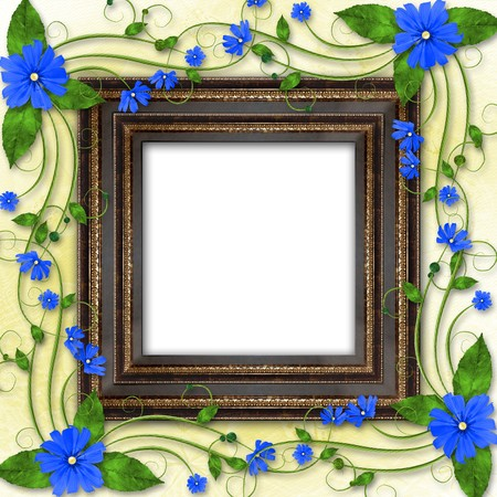 Wooden frame in the Victorian style with blue flowers photo