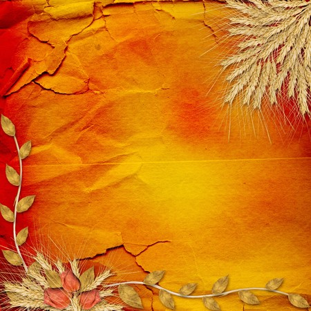 Ancient crumpled abstract background  with bunch of rose photo