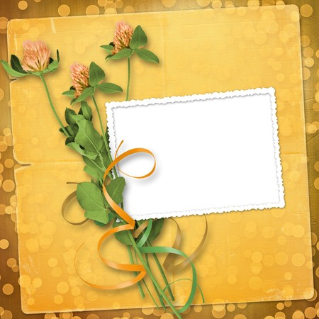trefoil: grunge paper for congratulation with bunch of clover Stock Photo