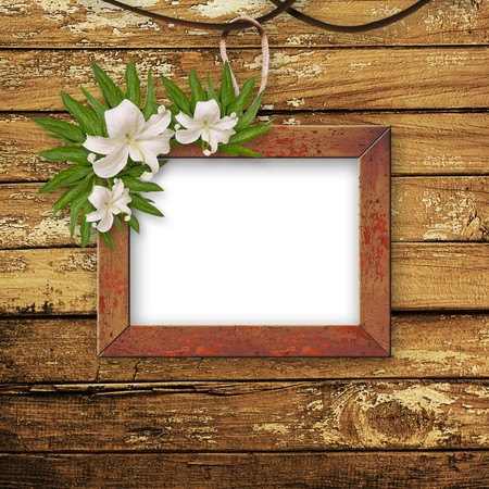 Old room, grunge  inter with frames in style baroque Stock Photo - 6960346