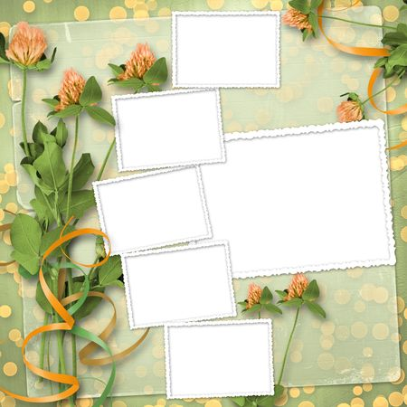 grunge paper for congratulation with bunch of clover Stock Photo - 6960409