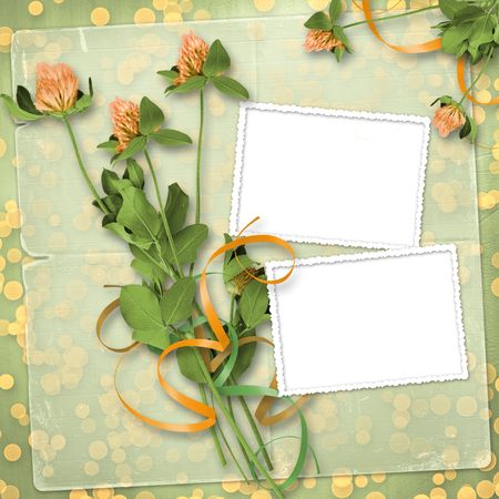 grunge paper for congratulation with bunch of clover Stock Photo - 6960412