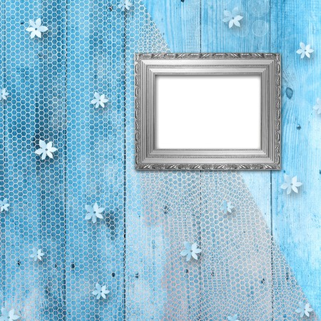 Grunge frame in the Victorian style on the wooden background photo