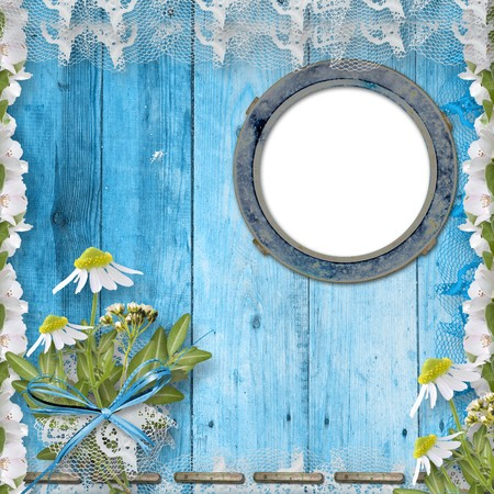 Grunge porthole with bunch of flower on the wooden background Stock Photo - 6960446
