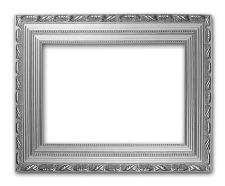 Picture silver frame on the white isolated background  photo