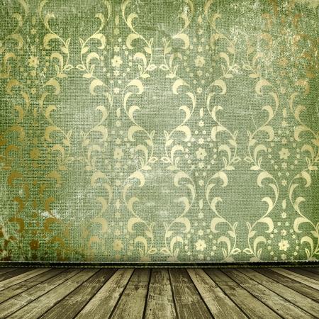 flowery: Oro de edad marcos de estilo victoriano en la pared en la habitaci�n Foto de archivo